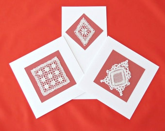 HANDMADE CARDS (Set of 3) - Blank Cards with Vintage Lace - Greeting Cards with Vintage Crochet Appliques