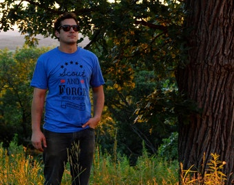 Original Scout And Forge T-Shirt, Mens Heather Lake Blue, Super Soft 50/50 Blend Tee
