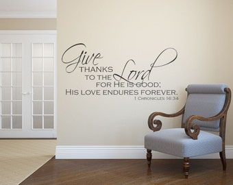 Thanksgiving Decor, Black, Thanksgiving, Give Thanks to the Lord Wall Decal