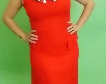 1960 Linen Red Dress