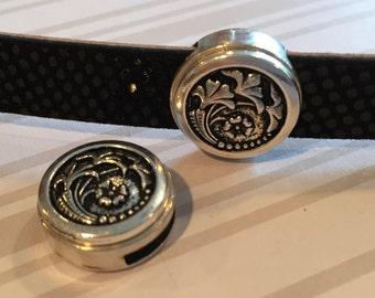 13mm Flat Leather Open Flower Antique Silver Zamak Slider, Flat leather bracelet diy jewelry supplies