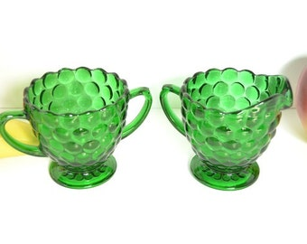 Forest Green Bubble Glass Sugar and Creamer from Anchor Hocking
