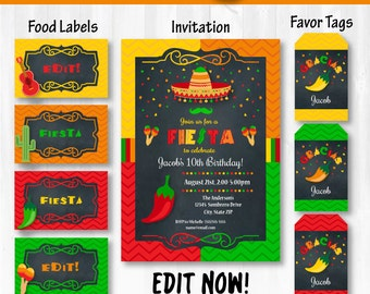 Fiesta Invitations, Fiesta Food Labels & Fiesta Party Tags!! - INSTANTLY DOWNLOADABLE and EDITABLE - Personalize at home with Adobe Reader!