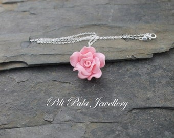 Polymer Flowers on a Sterling Silver chain. Choice of Blue, Pink, Peach or Purple.