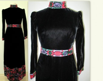 Vintage Dress, 1970's Boho Maxi dress,  Artsy 1970's ethnic influence, Black Velvet dress,  festive, gypsy dress, Peasant gown