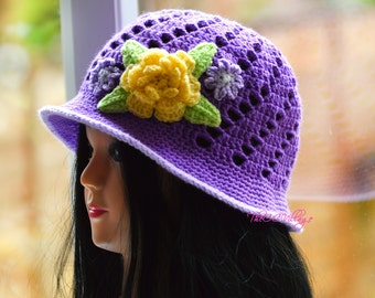 Purple Crochet Womens Hats, Handmade Teen Hat, woman Cap with yellow flower