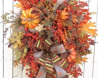 Mesh Fall Wreath, Autumn Wreath, Harvest Wreath, Harvest Wreath,Double Door Fall wreath, Elegant Fall Wreath, Large Fall wreath, Fall Berry