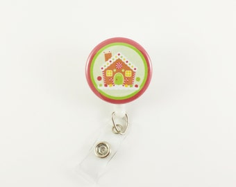 Gingerbread House - Badge Reel - Retractable ID Badge - Holiday Badge Clips - Teacher ID Holder - Nurse Badges - RN - Christmas Badge Reels