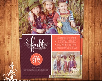 Fall Mini Session Template Photography Marketing board - Photoshop template Instant Download - BUY 1 GET 1 FREE: ms-511