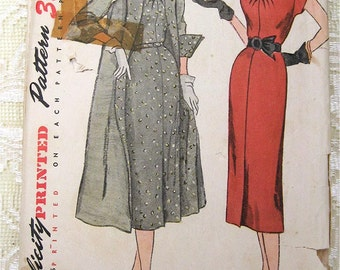 Vintage 50s Day Dress & Reversible Coat, Turn-up Cuffs . Simplicity 3453. Sewing Pattern. Size 18 1/2 Bust 37""