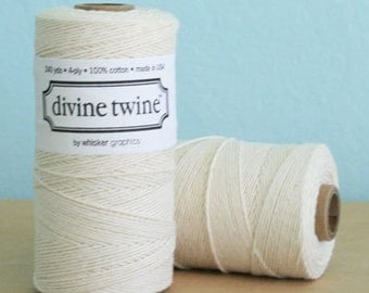 SALE 20% OFF - Solid NATURAL Divine Twine 240 Yards Spool of Bakers Twine by Whisker Graphics