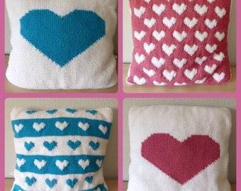 Pattern pack: Hearts Cushions. Instant download.