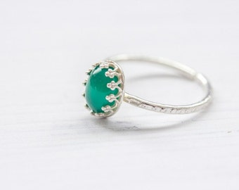 Filigree Green Agate 925 Sterling Silver Ring