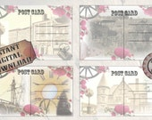 Vintage Rose Post Cards Printable Set ~ JPG ~ 4 Steampunk Victorian Blank Aged Photo Notes ~ Horse Carriage, Mansion, Gears, Old Buildings,