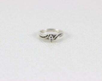 Sterling Silver Diamond Ring  1/4 carat diamonds ring size 7 1/4