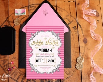 Lingerie Bridal Shower Invitations - Victoria's-Secret-Inspired Bridal Shower Invites