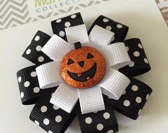 Halloween Pumpkin Hair Bow - Glitter Pumpkin Hair Clip - Halloween Hair Accessory - Pumpkin Hair Clip - Pumpkin Hair Bow - Halloween Bow
