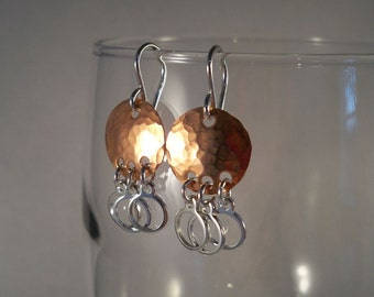 Mixed Metal Earrings, Hammered Copper with Silver Plated Drops, Sterling Silver Ear Wires