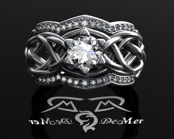 unique celtic knotwork elvish engagement ring 100 cttw heavy woven organic white grey 18kt gold - Elvish Wedding Rings