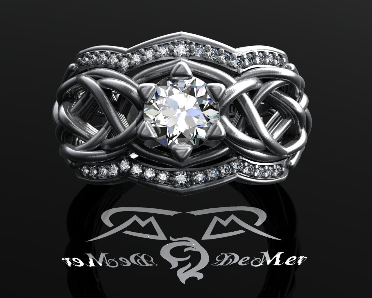 Unique Celtic knotwork elvish engagement ring 1 00 cttw heavy
