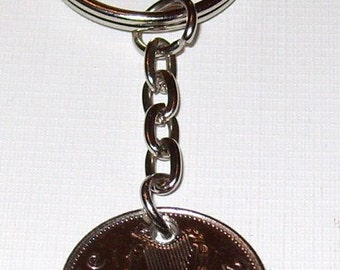 2000 10p Ten Pence Irish Coin Keyring Key Chain Fob 17th Birthday
