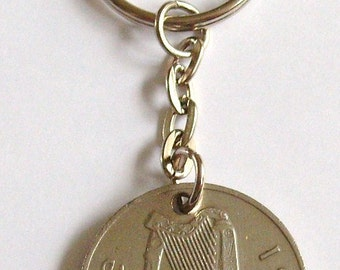 1980 Old Large 10p Ten Pence Deich bPingin Irish Coin Keyring Key Chain Fob 37th Birthday