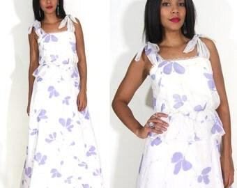 Vintage 70s White Purple Tie Shoulder Peplum Maxi Dress Hippie Prairie Wedding