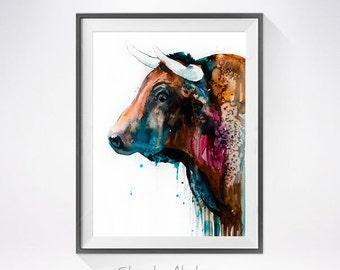 Bull watercolor painting print, Bull art, animal art, Bull illustration, animal watercolor, farm art, watercolor print, art print