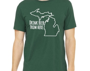 Spartans Drink Beer From Here- Michigan- MSU Craft Beer Shirt