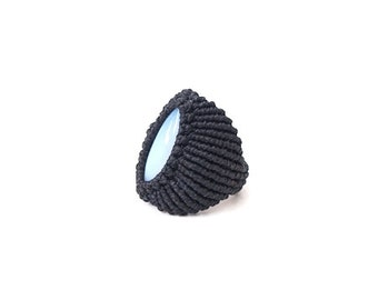Navy Macrame ring with Chalcedony