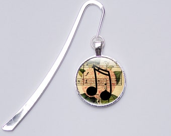 Music Note Bookmark, gift for book lovers, metal bookmark, Photo Bookmark  glass bookmark, music sheet music