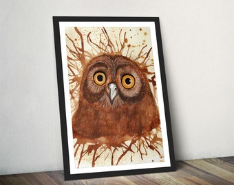 Owl Print Owl Illustration Barn Owl Art Print Owl Wall Art Owl Watercolour Print Owl Gift For Her by Katherine Williams