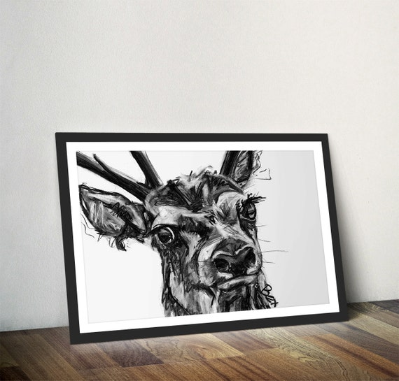 Wall Art Of Deer : Deer art print wall stag charcoal illustration