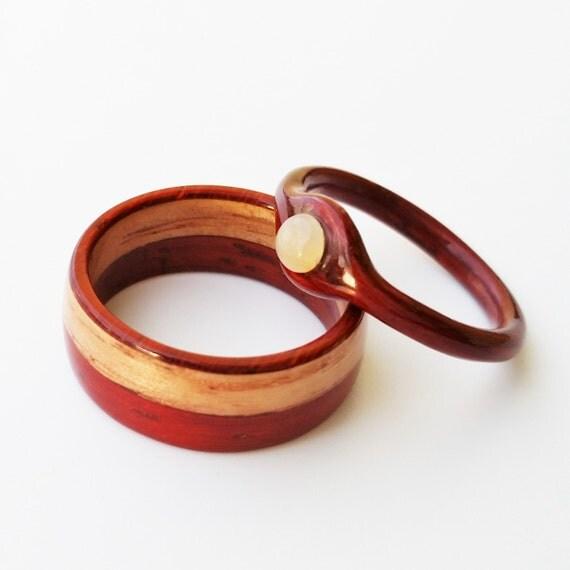 wooden wedding ring set bentwood ring matching wood