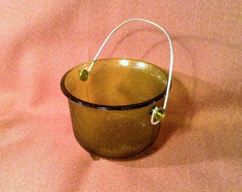 CLEARANCE SALE ***Small Green Glass Pail/ Bucket - Metal Handle***