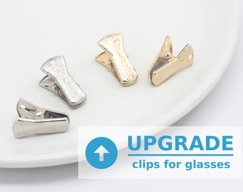 UPGRADE to Metal Clips // Glasses Chain with Clips - Eyeglass Chain with Holder Clips - Eyeglass Clips - Glasses Clips - Clips for Glasses