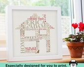 Printable File - New Home Housewarming gift. Personalised Word Art. Picture family engagement present unique typography.