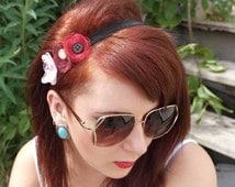 Boho chic, three flower, vintage style, summer, sheer, gem, elastic headband
