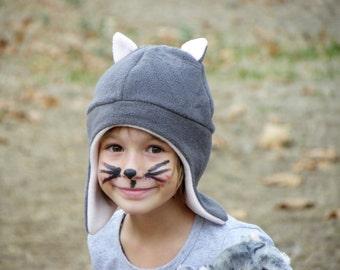 Children Cat Hat, Toddler Cat Fleece Hat