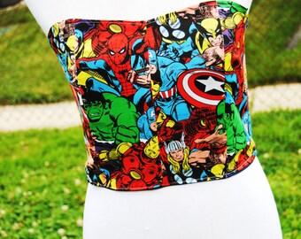 Marvel Superhero Bustier Corset Zipper Crop Top with Boning and lining