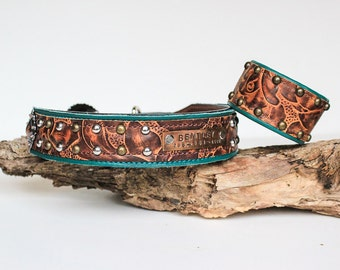 Brown and Teal Flower Embossed Leather Cuff Bracelet