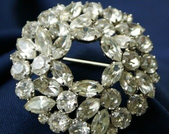 Vintage Weiss Costume Jewelry Brooch/Pin - Clear Rhinestones set into Silver Tone Metal