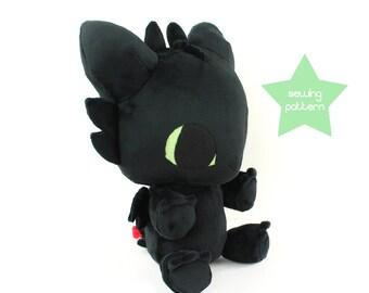 """PDF sewing pattern - Toothless Dragon plushie - kawaii plush DIY big 13"""" cuddly stuffed animal soft toy plushie anime monster"""