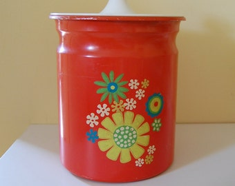 KROMEX Canister ~ Vintage Orange Storage Can with Flowers ~ Stash Treasure Trinket Box ~ Flower Mod 1970s Special