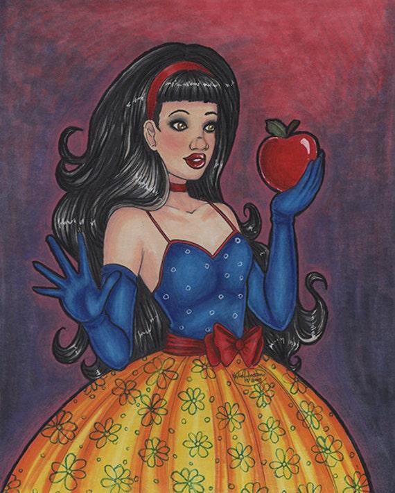 snow white apple original drawing 8x10 portrait princess