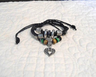 Black Bracelet Adjustable Leather Cuff Hippie Jewelry Beaded Bracelet Bohemian Stacking Bracelet Stacked Bracelet Layered Bracelet