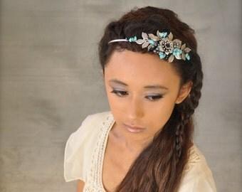 Turquoise stone headband, Silver leaves headband, Black pearl headpiece,