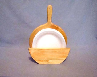 Wooden Paper Plate Holder, Space Saving Paper Plate Holder