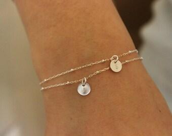 Tiny initial bracelet, sterling silver bracelet, two initials, tiny bracalet, bridesmaid gift, delicate bracelet, monogram, tiny disc