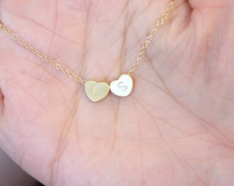 Two initial necklace, couple necklace, gift for girlfriend, anniversary gift, gift for newlyweds, double heart necklace, sister gift.